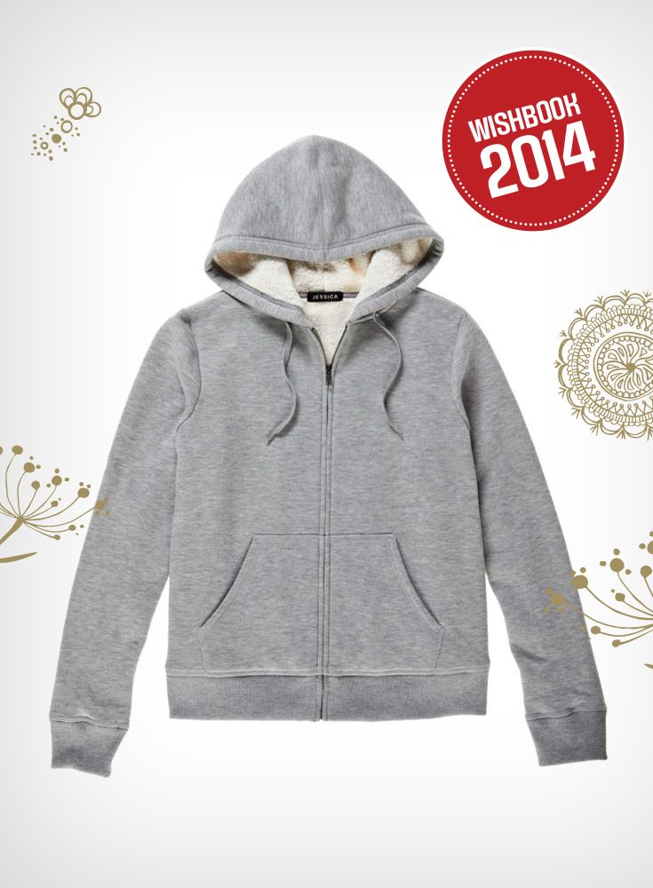 This Sherpa-lines hoodie is perfect for staying warm in the fall and winter