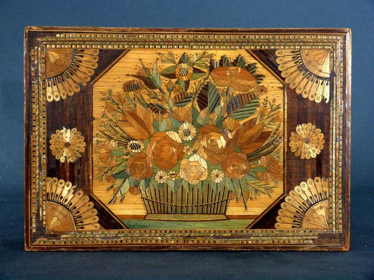 Antique for sale Sewing box or casket for work rich decor of straw marquetry Chest Coffer Storage furniture Furniture