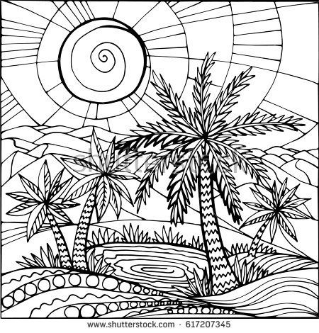 Oasis in the desert sand. Palm trees and a lake. Illustration can be used for cover,card, background for poster, coloring page