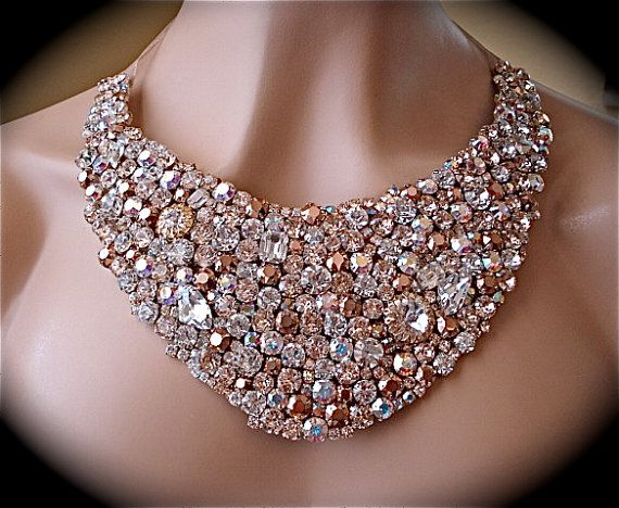 Large Rose Gold Crystal Statement Necklace By
