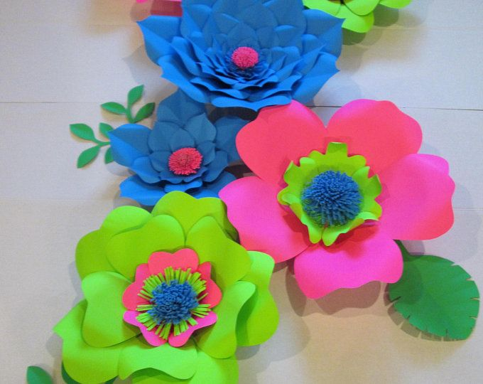 Paper Flowers Set For Hawaiian Parties Hawaiian Theme Colorful