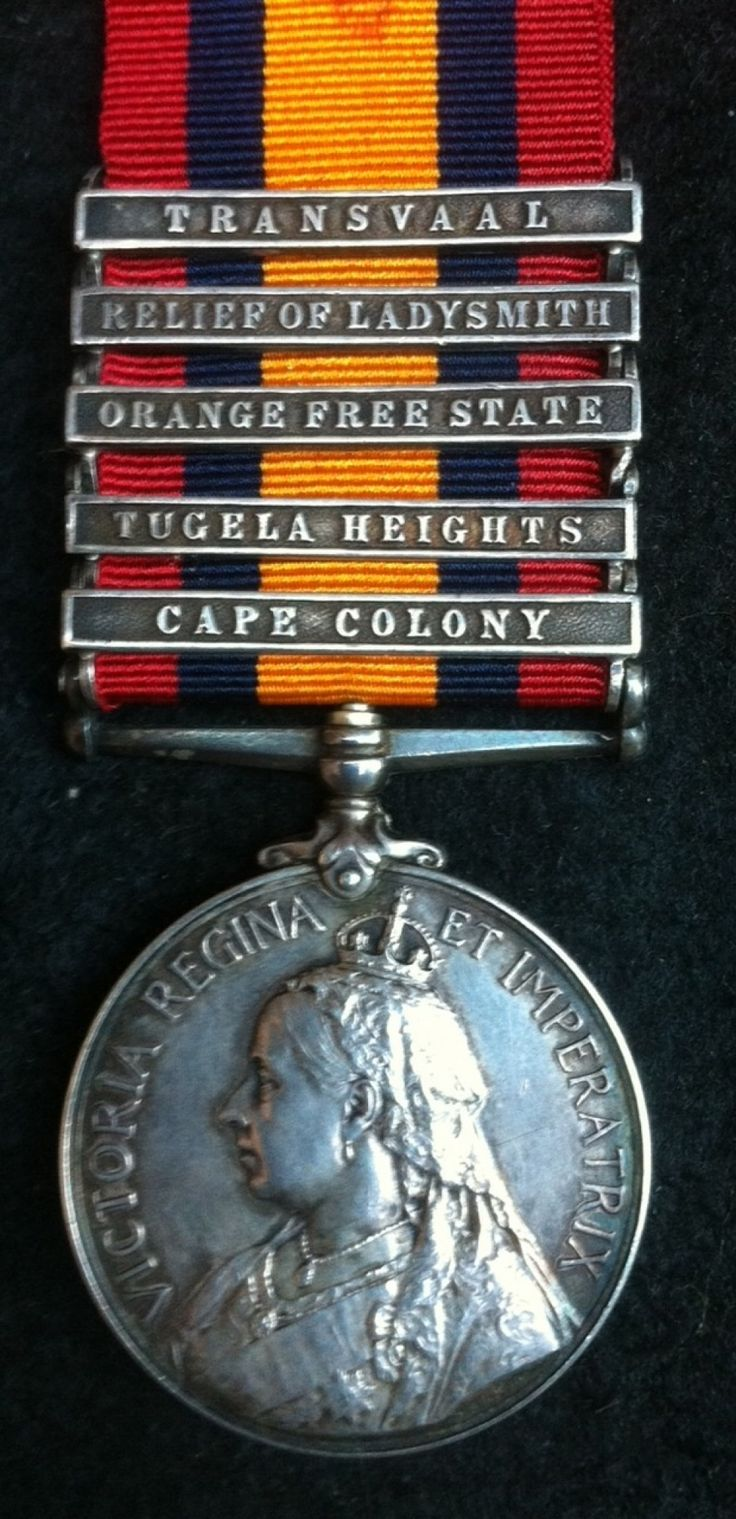Queen's south Africa Medal, with 5 clasps - CAPE COLONY, TUGELA HEIGHTS, ORANGE FREE STATE, RELIEF OF LADYSMITH, TRANSVAAL