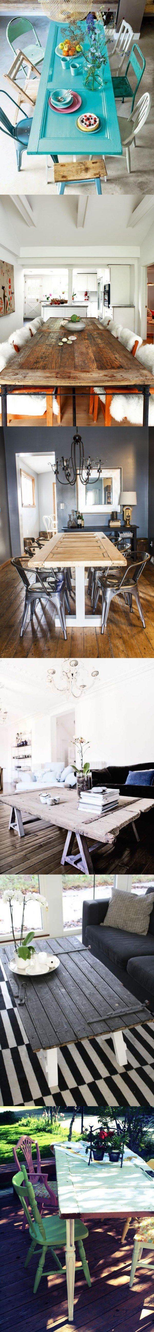 Puertas utilizadas como mesas / http://www.bohochicstyle.com/