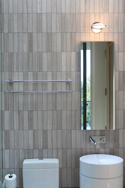 bathroom tile gray small tile. I think I like this pattern more than the offset subway tile. It looks a little more mod