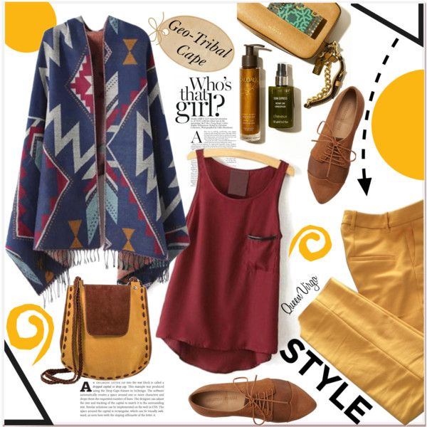 Geo-Tribal Cape by queenvirgo on Polyvore featuring Chicnova Fashion, Zara, NOVICA, women's clothing, women's fashion, women, female, woman, misses and juniors