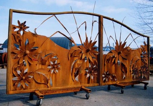 Big steel flower gate by the folks at Red Hot Metal Studios.
