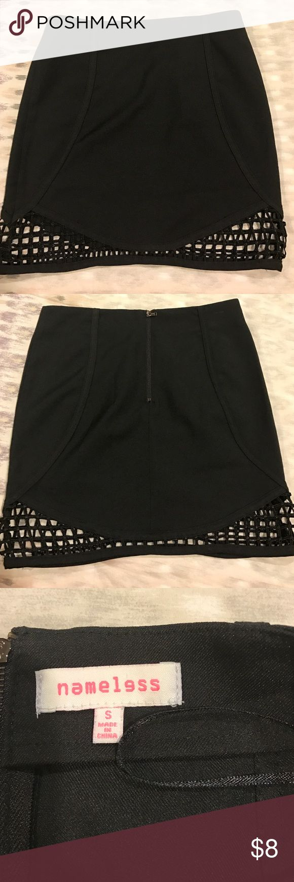 Black night out skirt Black mini skirt with cut out net part at bottom. Polyester nameless Skirts Mini