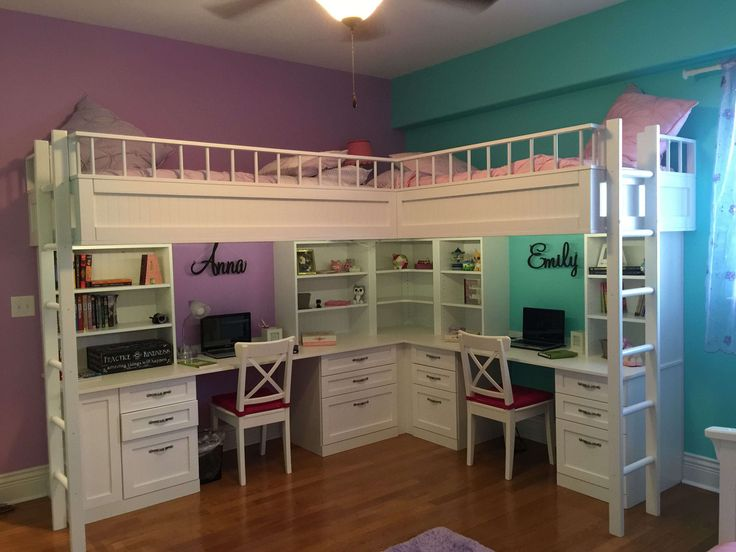 Kids Room:Awesome Modern L Shape White Loft Bed With Desk Design Kids Room And Textured Wood Floor Also Bright Painted Wall Loft Bed With Desk As Space-Conscious Solution For Kids Bedroom
