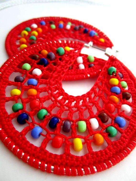Crocheted hoops with beads by BohemianHooksJewelry on Etsy, $18.00