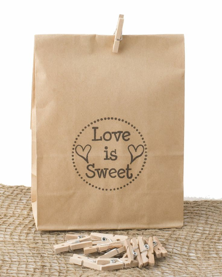 Hand Stamped Wedding Favour Bags Love is Sweet Badge | Lolly Bags x50 stylepartylove.com.au