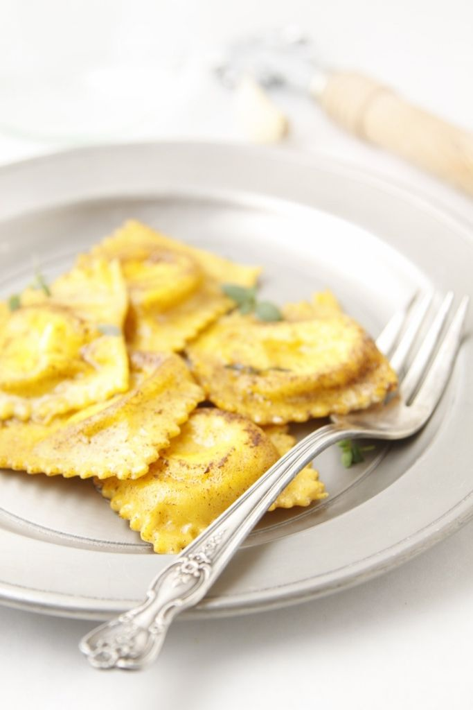 Homemade Roasted Carrot Ravioli in Browned Butter  Thyme Sauce www.bellalimento.com