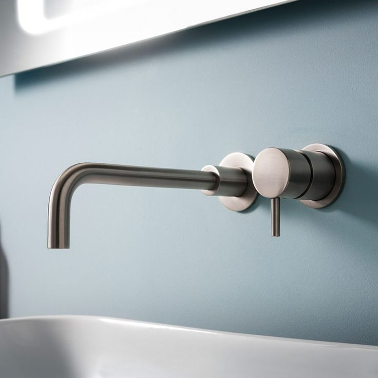 Crosswater Mike Pro Wall Mounted Basin Mixer Tap - Brushed Stainless Steel Effect