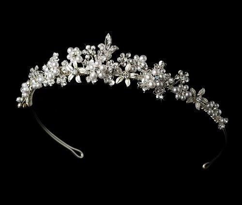 Silver White Pearl Crystal Floral Bridal Tiara Second Glance Fashions, http://www.amazon.com/dp/B0058OTCNE/ref=cm_sw_r_pi_dp_kwK6pb0A41KJJ: White Pearl, Glance Fashions, Bridal Tiara, Tiara Second