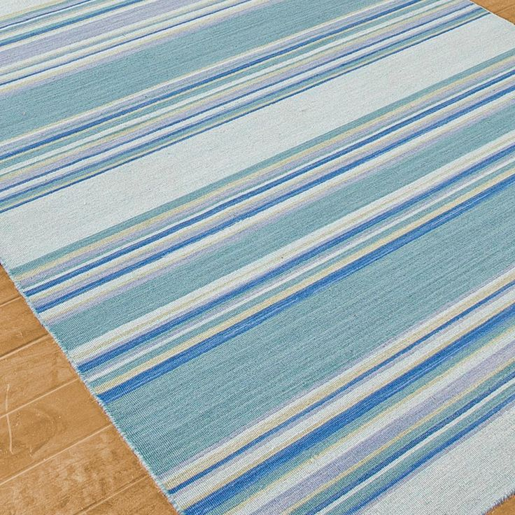 Sea Blues And Greens Stripe Dhurrie Rug Family Room
