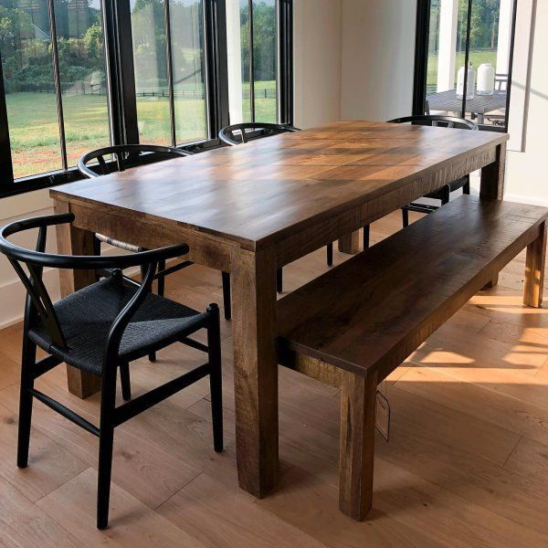 Parsons Tobacco Brown Dining Bench In 2020 Dining Table With Bench Kitchen Table Bench Dining Room Table
