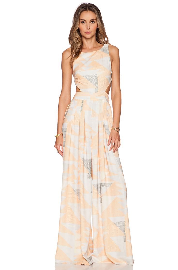 Mara Hoffman Cut Out Jumpsuit in Loom Peach
