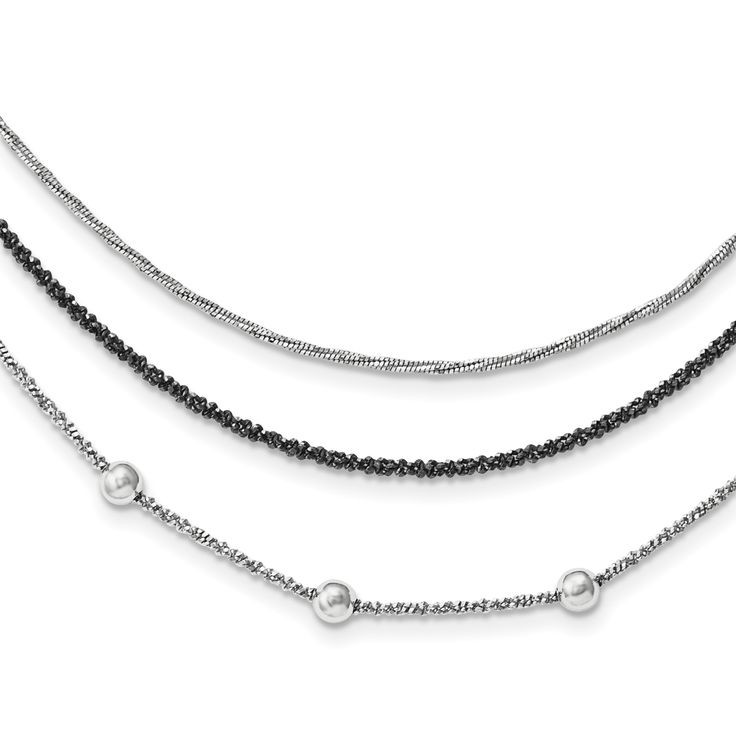 Sterling Silver Ruthenium-plated Fancy w/1.25in ext Necklace QG3777-18