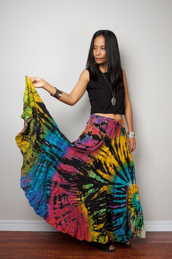 Rainbow Skirt / Hippie Tie Dye Maxi Skirt : Funky by Nuichan