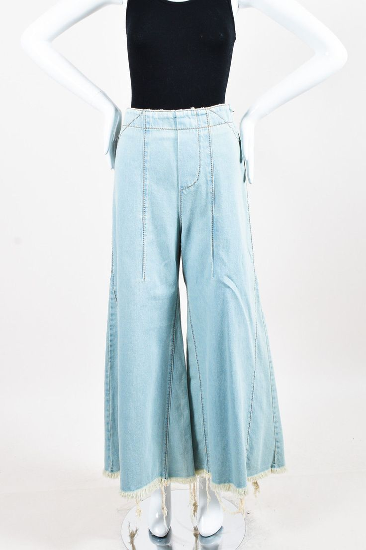 Item Specifics & Details: Chloe light blue cotton culottes featuring an exaggerated flare leg with raw edge finishing and side zip closure. Size: 36. Color: Light Blue. Fabric Content: Cotton. Yes, we do! | eBay!