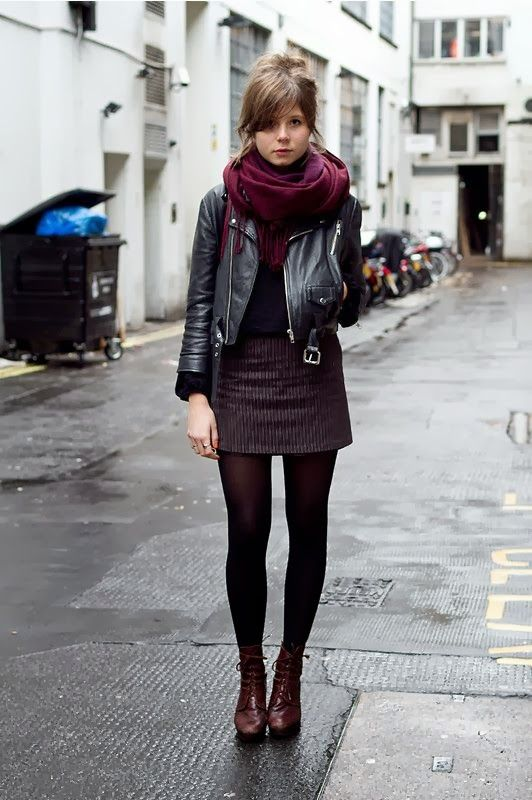 Fall Street Style With Leather Jacket and Cozy Scarf | More outfits like this on the Stylekick app! Download at http://app.stylekick.com