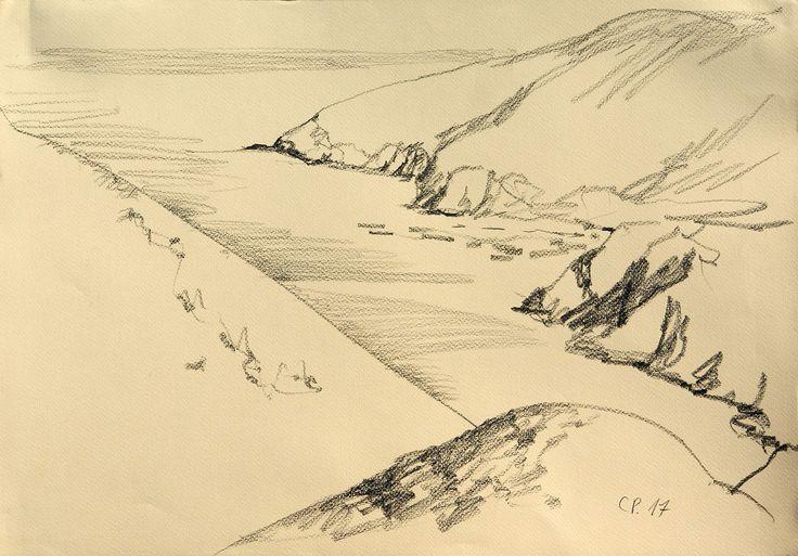 Seashore Landscape, pencil on paper