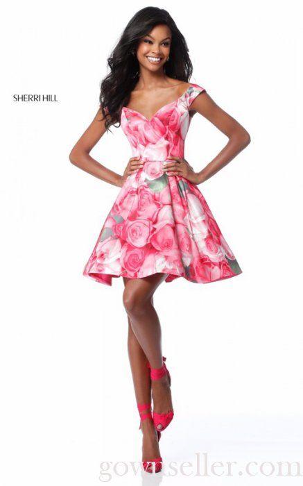 31445724b314 Short Sherri Hill 51793 Pink Print Taffeta Prom Dress | Dresses ...