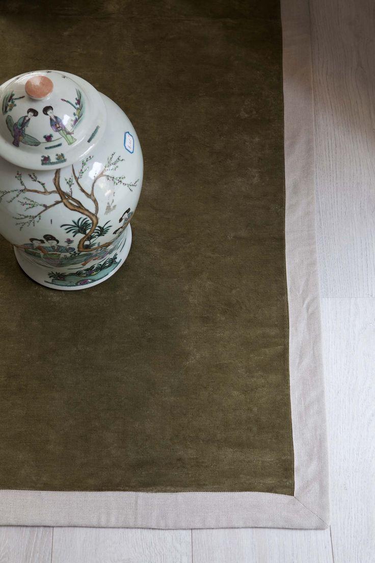 MarinaC - carpet in olive green linen velvet with natural linen border #marinacmilano www.marinac.it