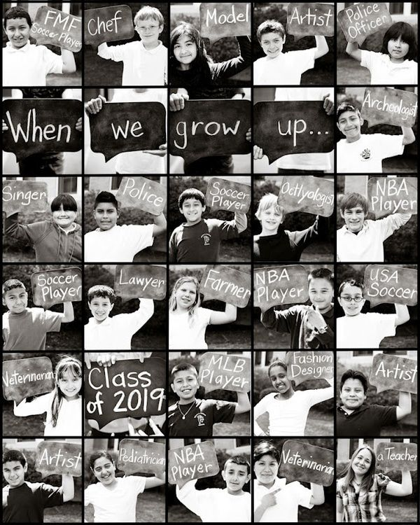 too cute. Would make a great end of the year gift for parents [picture of individual child, what they want to be when they grow up, and hs graduation year]