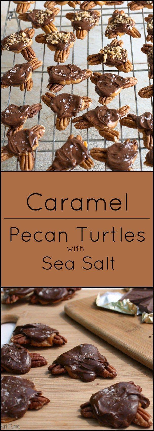 Gluten free Caramel Pecan Turtles with Sea Salt.