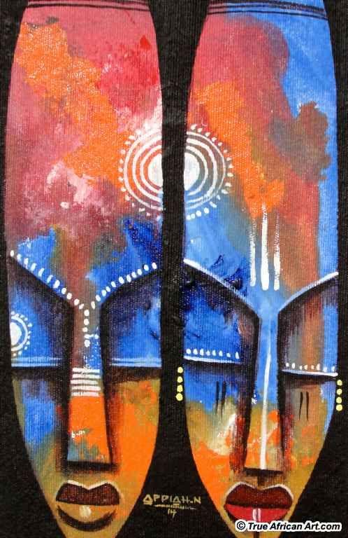 Ghanaian African abstract artist, Appiah Ntiaw - True African Art.com