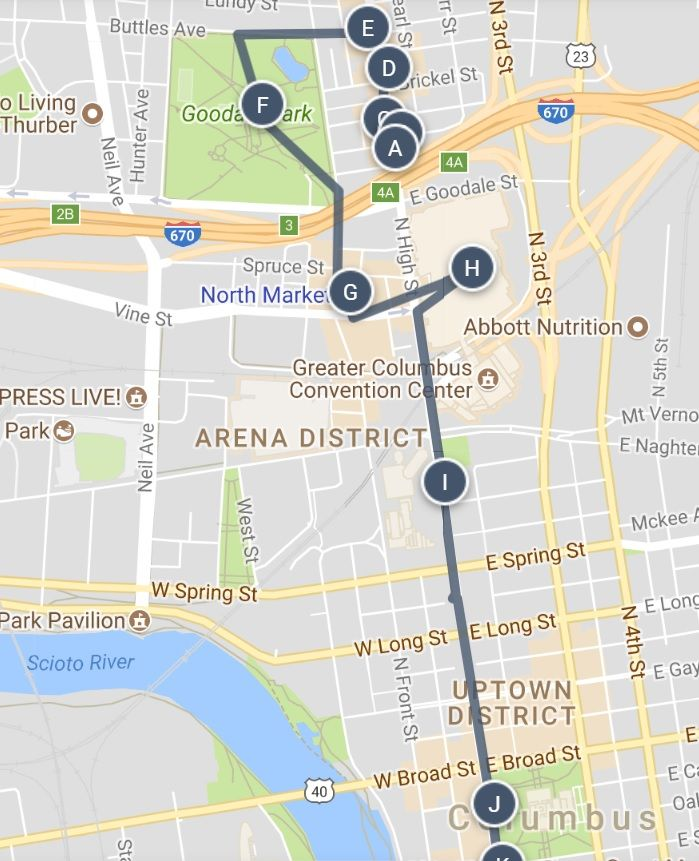 An Art Food And Walking Tour Map Of Downtown Columbus Ohio And