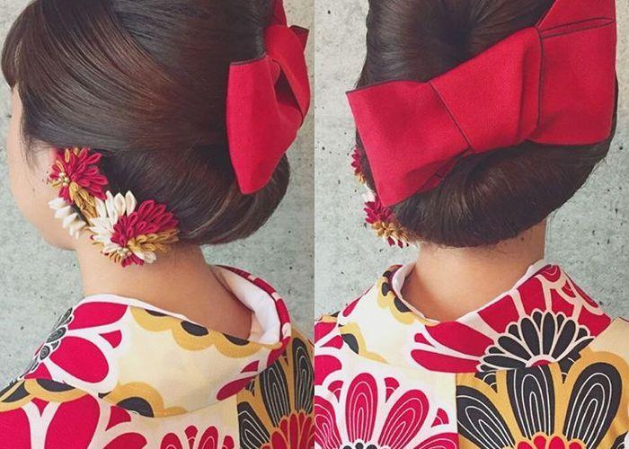 おっきな赤いリボンが可愛い♡『ハイカラさん』風大正ロマンな和モダン髪型特集*のトップ画像