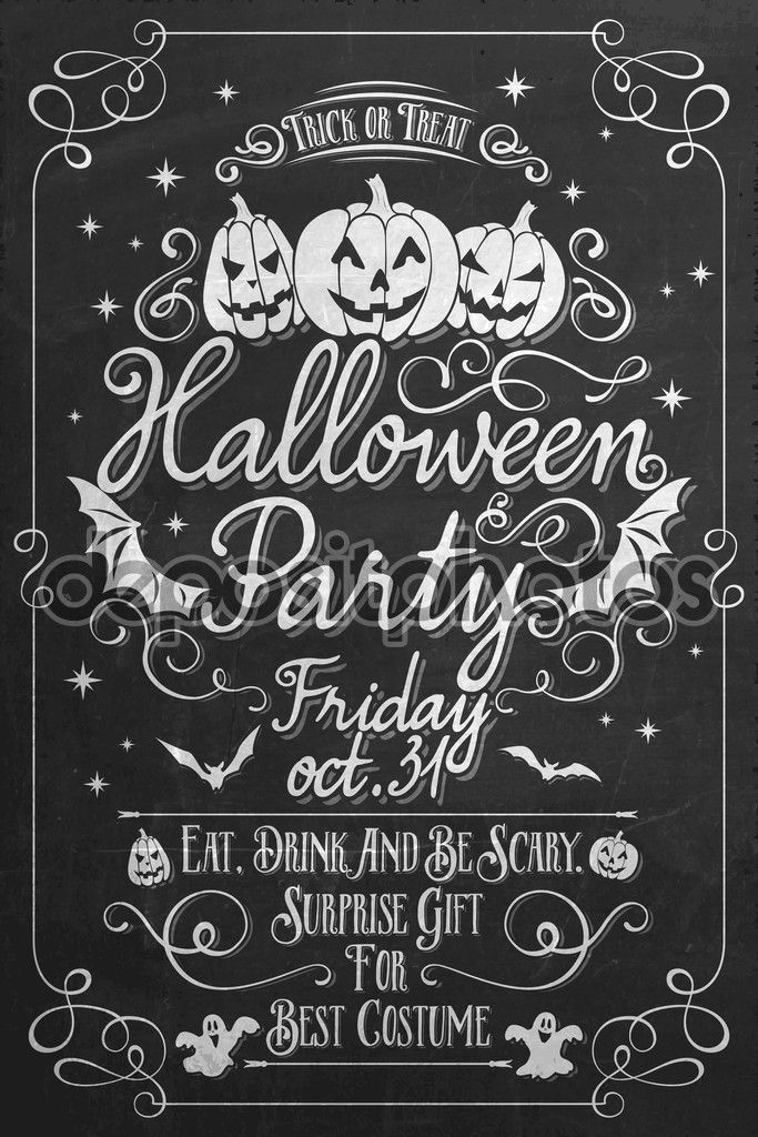Vintage Halloween Party Poster On Chalkboard, Typographical ...