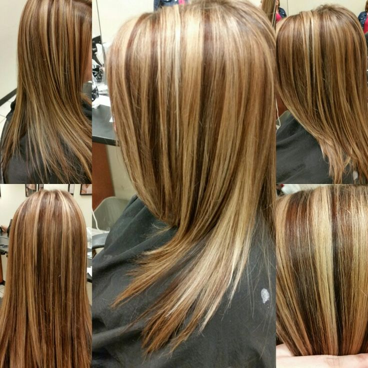 We did 2 blonde foils then 1 brown foil. The lowlights are 6wn colorsync, the highlights are toned with a 8v colorsync. Hair by Nicole Windsor at Jcpenney salon in wildewood md.