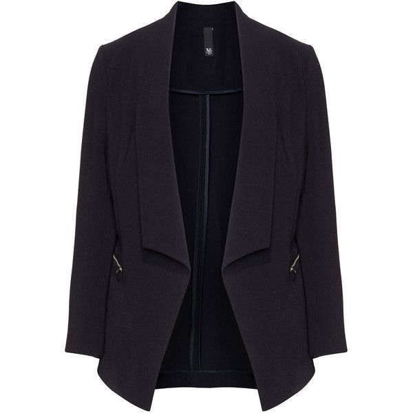Manon Baptiste Dark-Blue Plus Size Dipped hem blazer (£80) ❤ liked on Polyvore featuring outerwear, jackets, blazers, blazer, plus size, tailored blazer, dark blue blazer, plus size blazer jackets, lapel jacket and slim blazer jacket