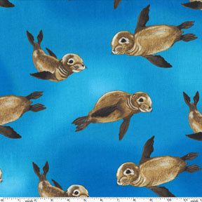 Four 4 Yards  Baby Seal Pups Fabric by Michael by ShuShuStyle, $37.80: Fabrics Free, Miller Seals, Pup Fabrics, Miller Dc5001 Ocean, Cotton Fabrics, Pup Dc5001, Seals Pup, Michael Miller, Baby Seals