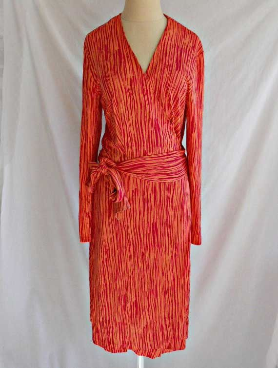 dvf diane von furstenberg wrap dress stripe silk deadstock nos vintage 90s 12. Black Bedroom Furniture Sets. Home Design Ideas