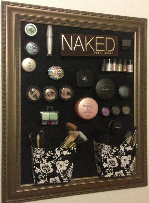 DIY Magnetic Makeup Holder | http://www.hercampus.com/school/hofstra/dorm-room-diy-magnetic-makeup-holder