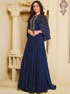 navy blue gown, designer gown, indian gown, party wear gown, bridesmaids dress, evening party gown,