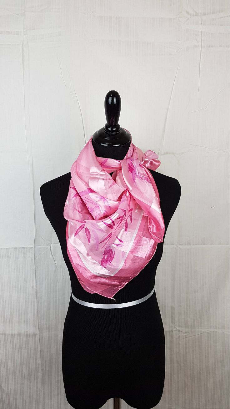 Shimmer Pink Bamboo Print Square Polyester Scarf by Obsess4Accessories on Etsy