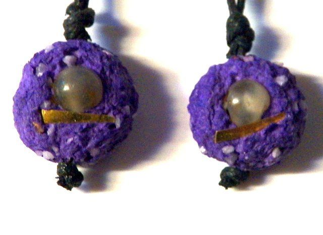 Ethnic Style Earrings Recycled Paper. Purple. from PaperArcsArt by DaWanda.com