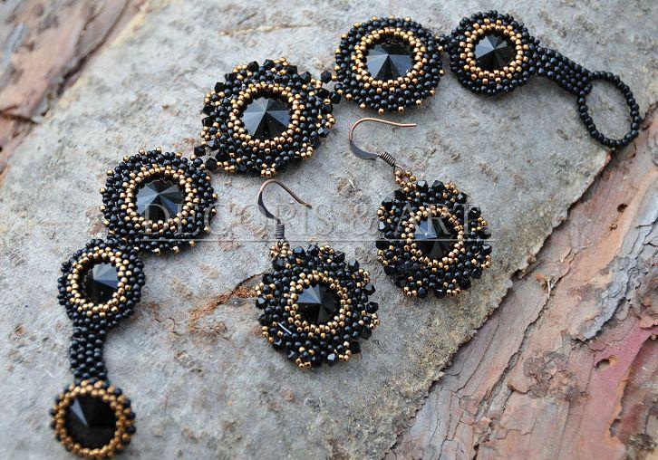 Biżuteria artystyczna z kryształami Swarovski - komplet, bransoletka i kolczyki