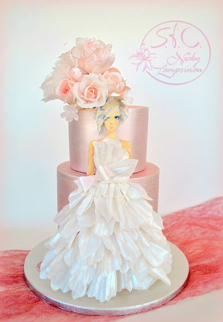 Wafer paper wedding cake