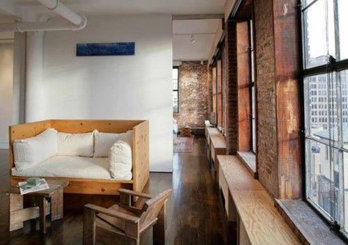 lazy sundayCouch, Windows Benches, Windows Boxes, Loft Style, Interiors, Loft Spaces, Exposed Brick, Apartments, Expo Bricks