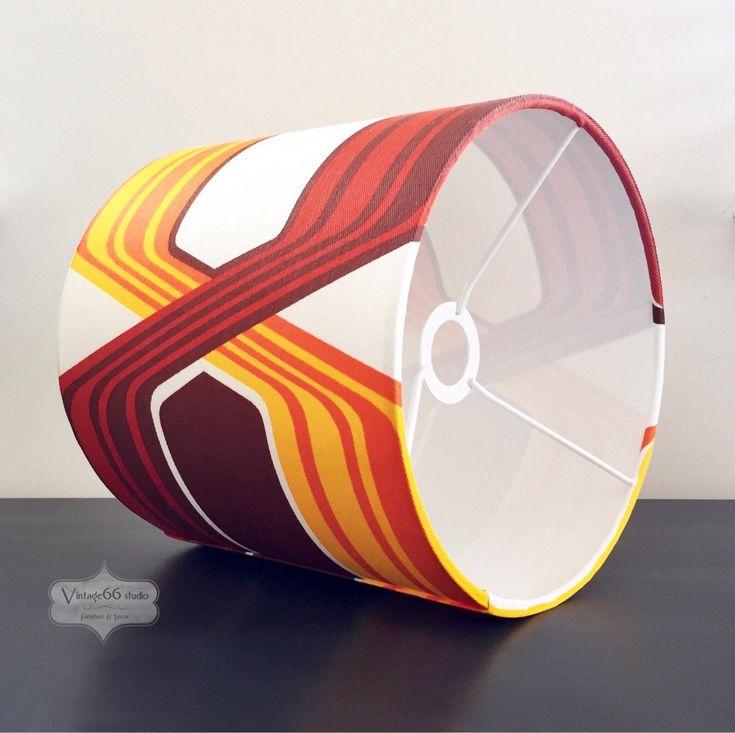 Vintage Geometric Fabric Lampshade, retro, MC, MCM, shade, table lamp, study, bedroom, living room, lamp, handmade, funky by Vintage66studio on Etsy