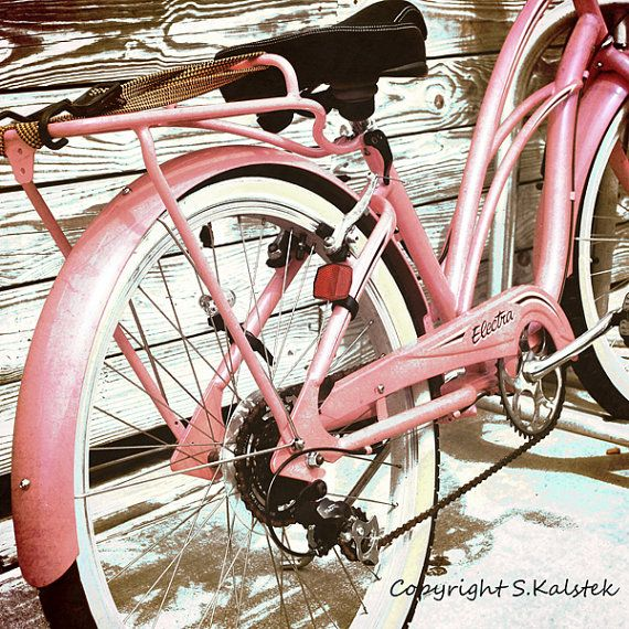 Retro Bicycle Photograph Pink Vintage Bike by KalstekPhotography