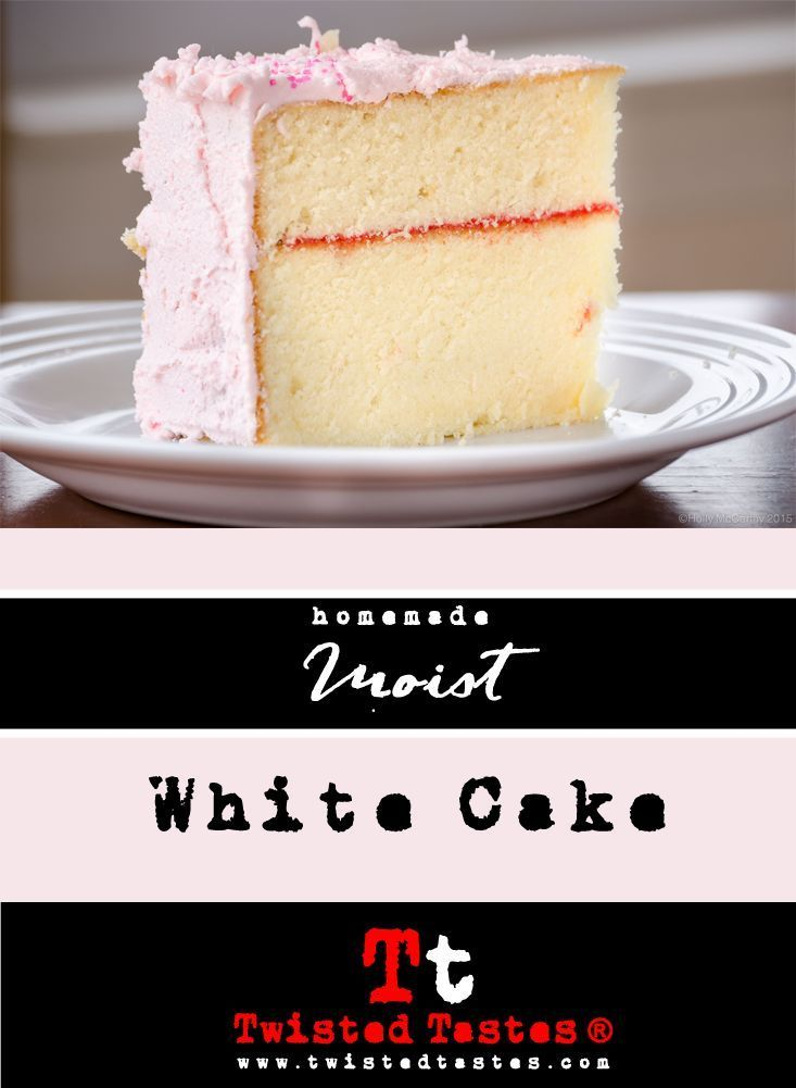 Sturdy & Moist White Cake: Perfect density for decorating with fondant or with tiered cakes, but stays super moist!  #cake recipe #fondant #vanilla #birthday cake