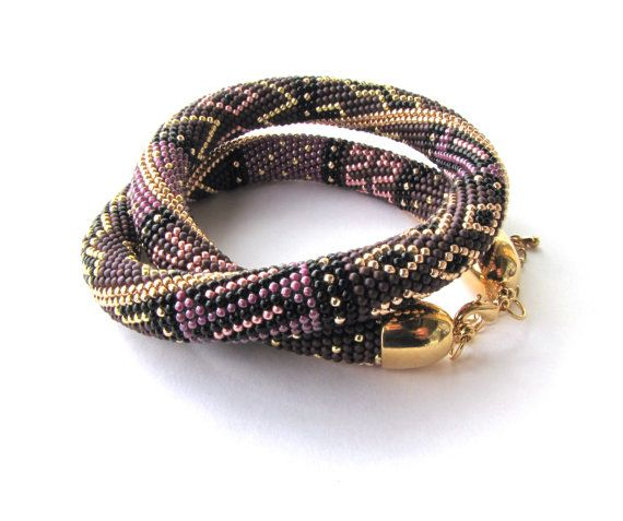 bead crochet necklace,Beaded crochet necklace,patchwork,Crochet Rope,beaded jewerly,Bead crochet,Crochet Necklace,beaded rope,lilac,gold on Etsy, $79.00