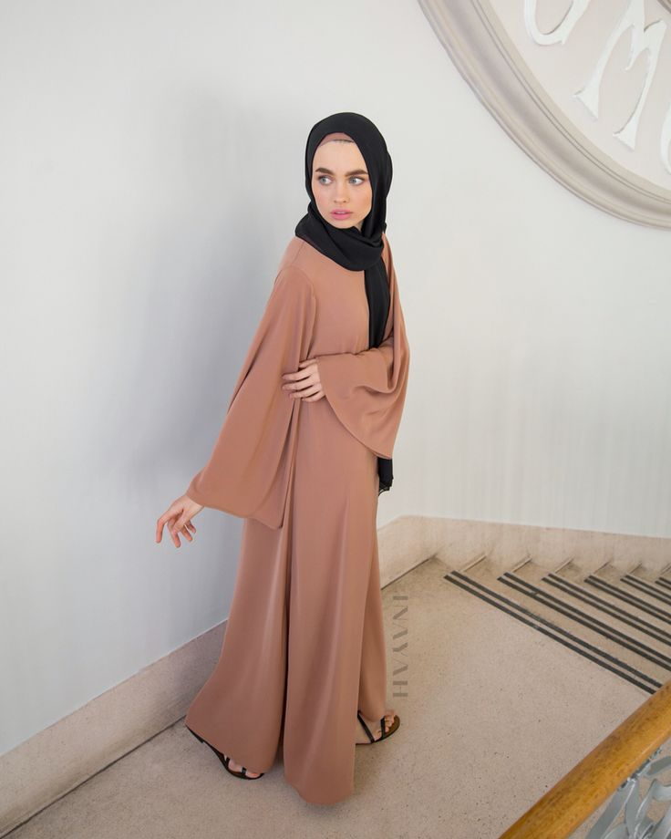Perfection is a combination of flattering flared sleeves and high necks. Iced Coffee High Neck #Kimono #Abaya + Black Maxi Georgette #Hijab - www.inayah.co