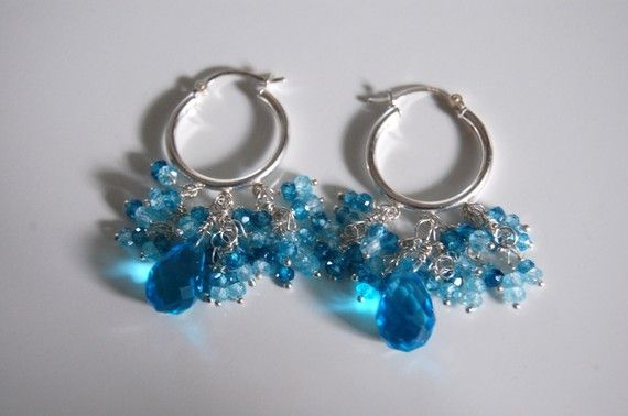 Shoply.com -Swiss blue crystal and natural blue zircon  earrings. Only C$50.00